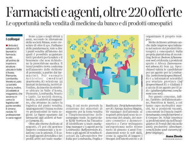 254 - Corriere Economia - parafarmacie,salute-assunzioni - 22.05.18 - pp. 31