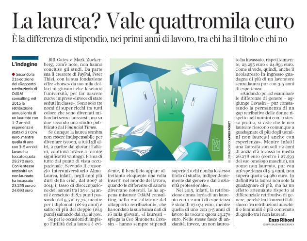 Corriere economia  - Stipendio-effetto laurea - 17.05.16
