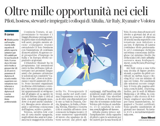 259 - Corriere Economia - assunzioni di piloti,hostess,stewards - 26.06.18 - pp.33