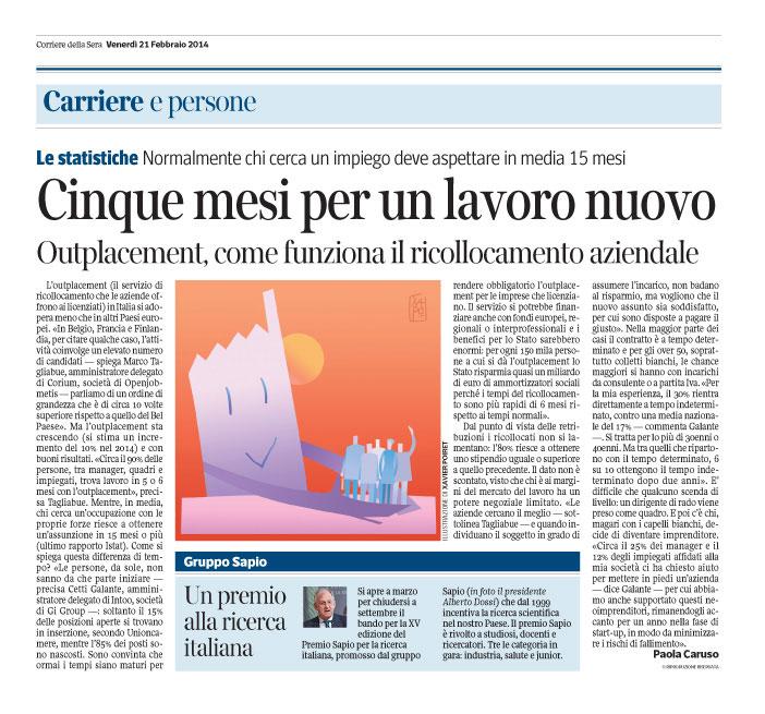 Corriere Economia - 21.02.14 - Outplacement