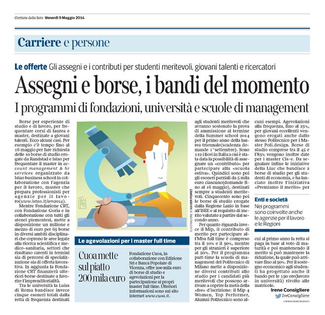 Corriere Economia - 2.05.14 - Borse di studio per specialisti