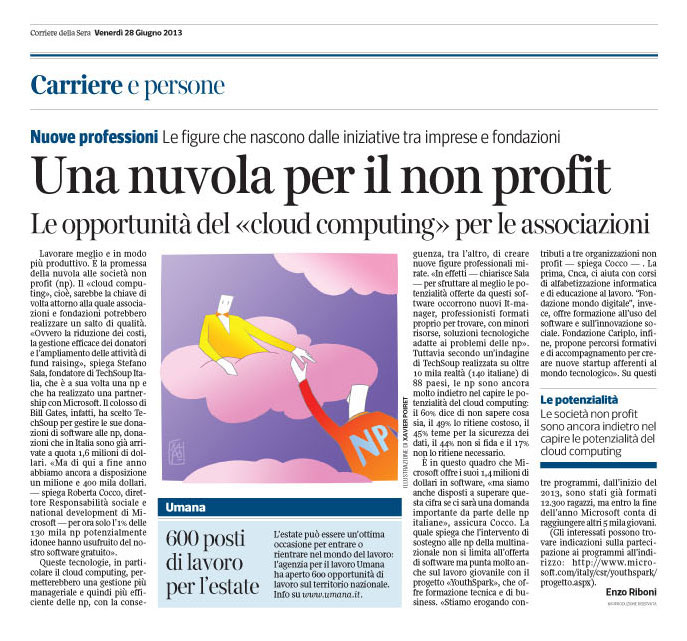 Corriere Economia - 28.06.13 - No profit & Cloud computing