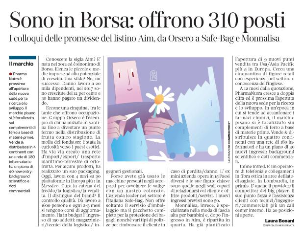 268 - Corriere Economia - l'impresa piccola...o quella più grande - assunzioni - 16.10.18 - pp.37