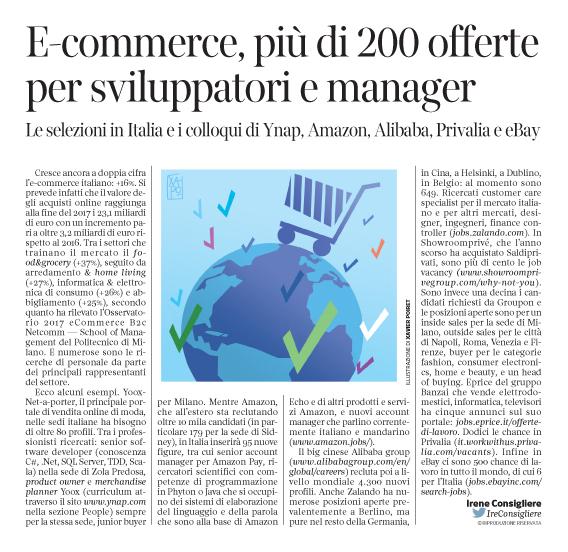 226 - Corriere Economia - assunzioni nell'e-commerce - 05.09.17 - pp.36