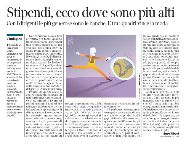 Corriere Economia - retribuzioni aumentate nel 2016 - 24.01.17 - pp.33