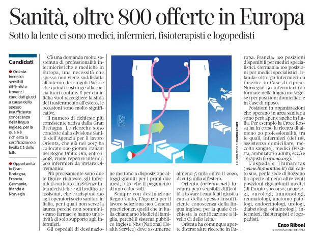 256 - Corriere Eco - personale sanitario - opportunità in Europa - 5.06.18 -  pp. 35