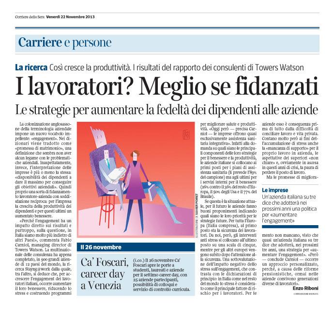 """Corriere Economia - 22.11.13 - Le aziende """"fidelizzano"""" i dipendenti"""