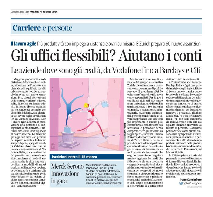 """Corriere Economia - 07.02.14 - """"Lavoro agile"""""""