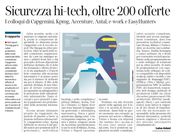 282 - Corriere Economia - jobs in cyber security - 12.02.19 - pp. 33
