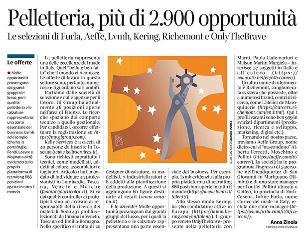 296 - Corriere Economia - assunzioni nella pelletteria - 28.05.19 - pp.47