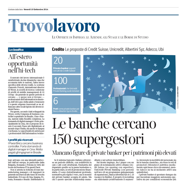 Corriere Economia - 19.09.14 - private banker opportunities