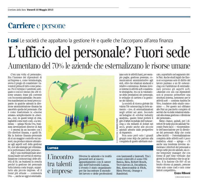Corriere Economia - 10.05.13 - Risorse umane - Gestione esterna