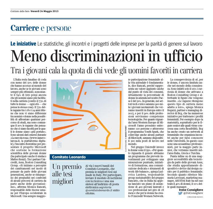 Corriere Economia - 24.05.13 - Confronto uomo-donna sul lavoro