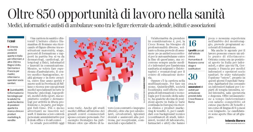 Corriere Economia - Sanità ; le opportunità - 27.06.17 - pp.33