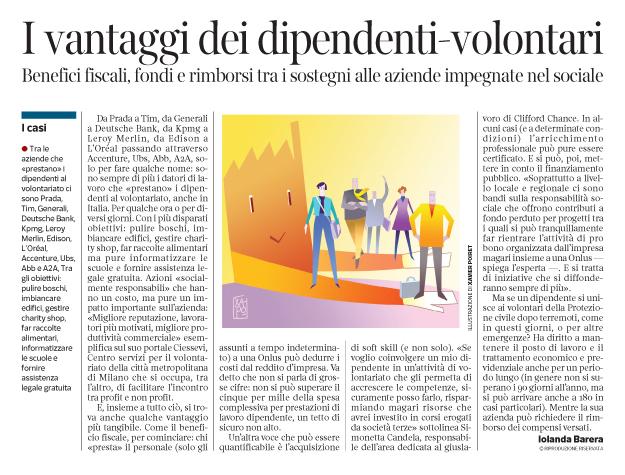 Corriere Economia - dall'ufficio al volontariato - 13.12.16  - pp.37