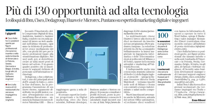 Corriere  Economia - assiunzioni in hi-tech e informatica - 20.06.17 - pp.35