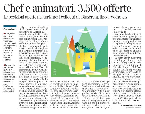 279 - Corriere Economia - assunzioni nel turismo - 22. 01.19 - pp. 31