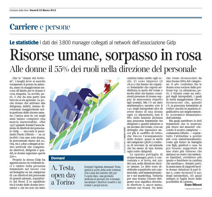 Corriere Economia - 22.03.13 - Risorse umane - Sorpasso in rosa