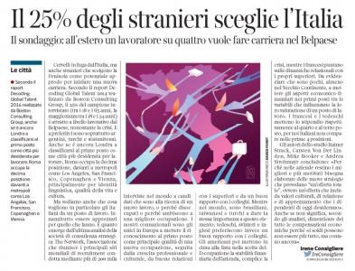 Corrriere economia - 25.11.14 - talenti stranieri verso l'Italia
