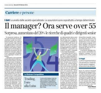 Corriere Economia - 28.02.14 - Dai 50 in su. Ricerca di quadri e dirigenti