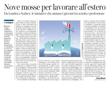 Corriere economia - sostegno giovani x lavoro-studio all'estero -  29.03.16 - pp.33