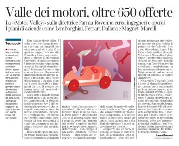 Corriere Economia - motor valley  Emiliana; assunzioni  - 23.05.17 - pp.37