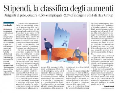 Corriere economia - 21.10.14 - retribuzioni congelate o quasi