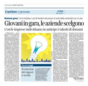 Corriere Economia - 11.04.14 - Giovani in gara, le aziende scelgono