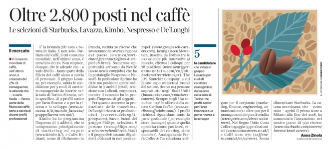 Corriere Economia - aziende del caffè-assunzioni - 13.06.17 - pp.41