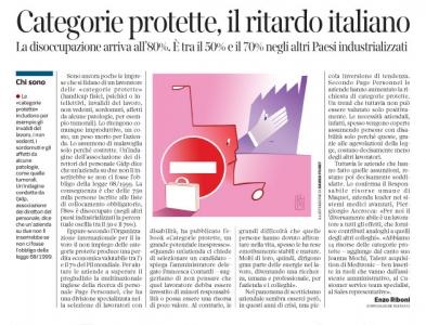 Corriere economia - categorie protette - niente lavoro x l'80 % - 13.01.14