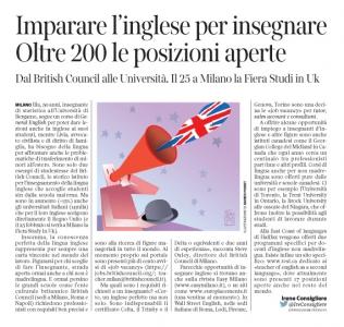 Corriere  Economia - insegnanti d'inglese . assunzioni - 21.02.17 - pp.37