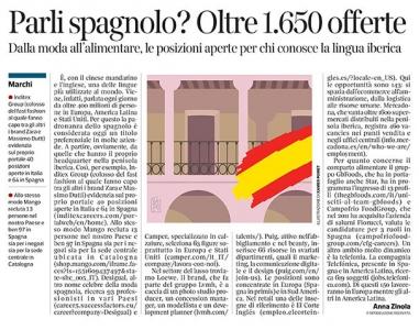286 - Corriere  Economia - Assunzioni di chi parla spagnolo - 12.03.19 - pp. 33