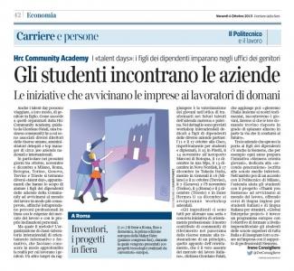 Corriere Economia - 04.10.13 - I giovani incontrano le aziende