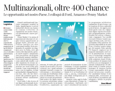 255 - Corriere Economia - multinazionali in Italia - assunzioni - 29.05.18 - pp.37