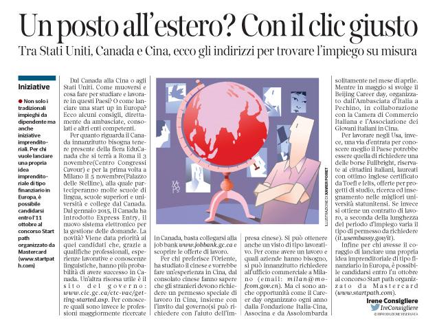 Corriere Economia - Lavorare oltre confine - 4.10.16