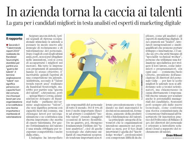 Corriere economia - di nuovo a caccia di talenti - 10.03.15