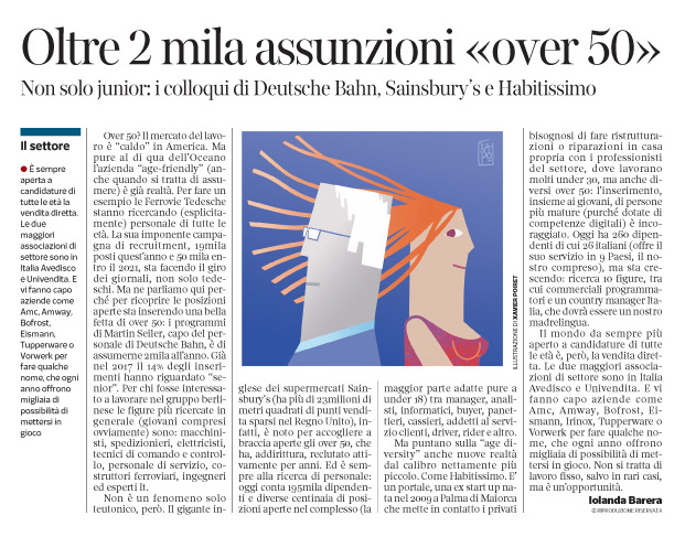 258 - Corriere Economia - assunzioni over 50 e under 30 - 19.06.18 -  pp. 41