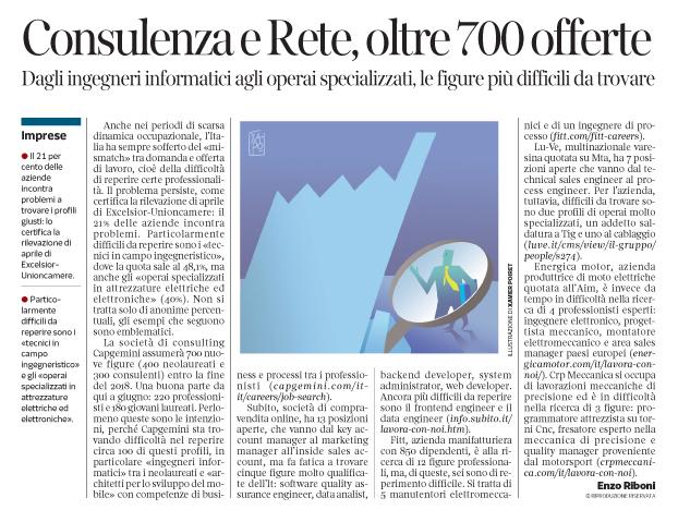252 - Corriere Economia - professionalità difficili da reperire - 8.05.18 - pp.31