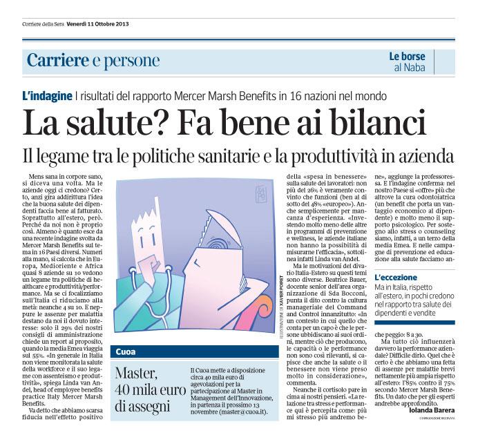 Corriere Economia - 11.10.13 - La salute fa bene al fatturato