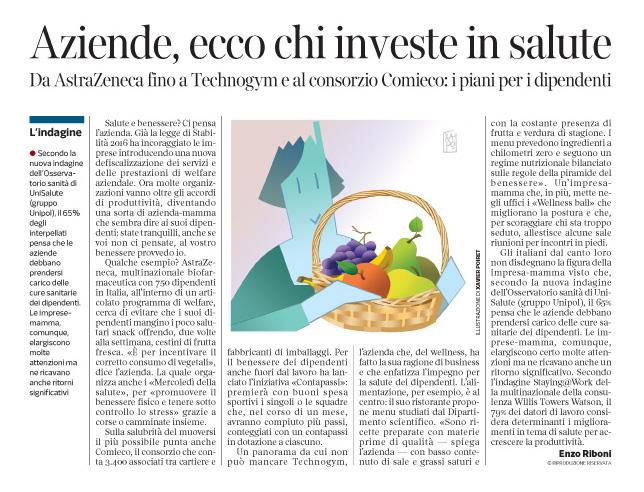 Corriere Economia - aziende.mamme salutiste - 27.09.16