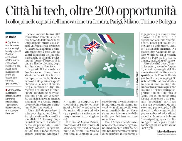 266 - Corriere Economia -Tra Londra Parigi e Milano 4.0, assunzioni - 25.09.18 - pp.33