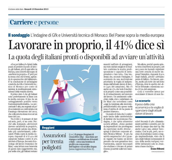 Corriere Economia - 13.12.13 - Mettersi in proprio
