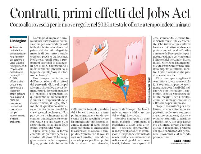 Corriere economia - contratti a tempo determinato al top - 27.01.15