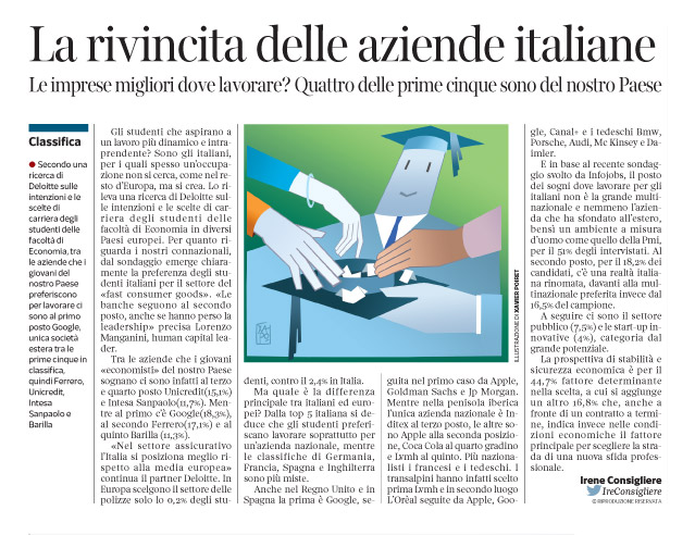 Corriere economia - 9.12.14 - Laureandi scelgono il settore di lavoro