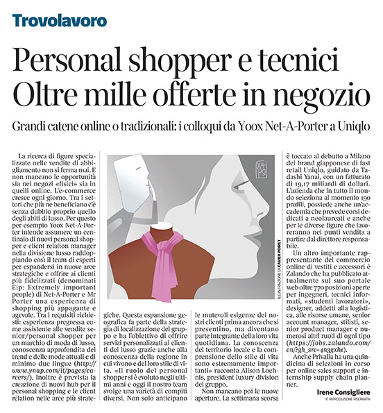 305 - Corriere Economia - assunzioni di personal shoppers - 17.09.19 - pp. 31