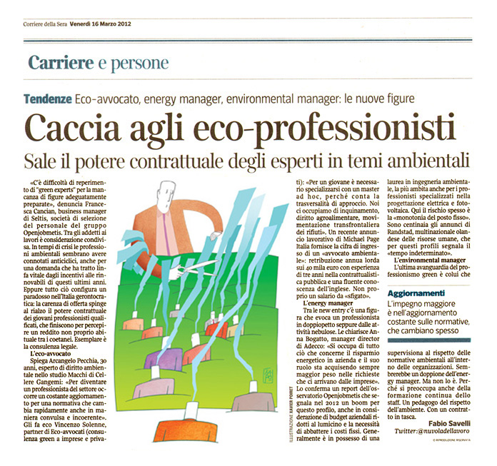 Corriere economia  - 16.03.12 - Green experts