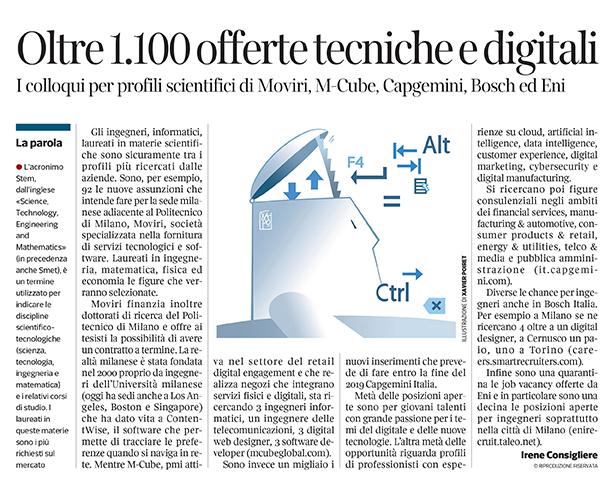 304 - Corriere Economia - assunzioni di ingegneri 23.07.19 -  pp. 22