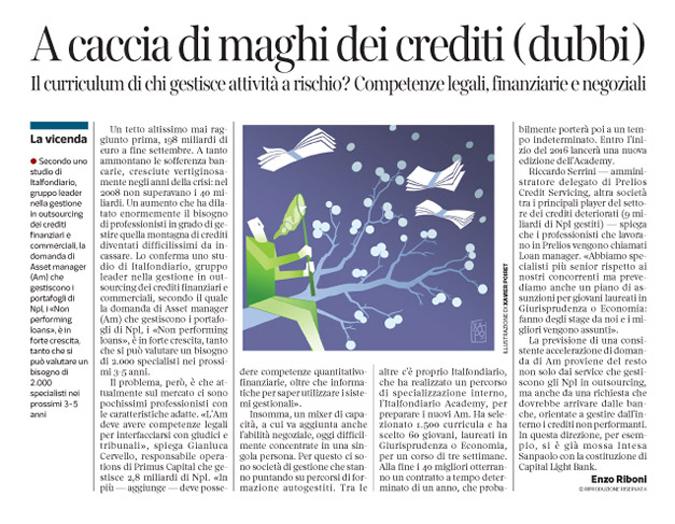Corriere Economia - gestore.crediti a rischio - 27.10.15