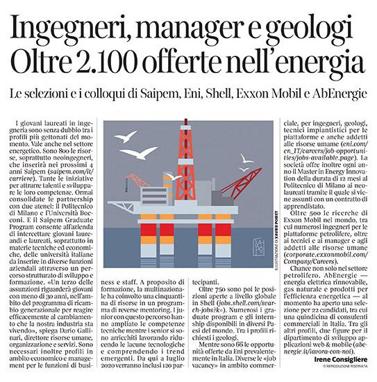 307 - Corriere Economia - offerte nelle società del petrolio - 1.10.19 - pp. 34
