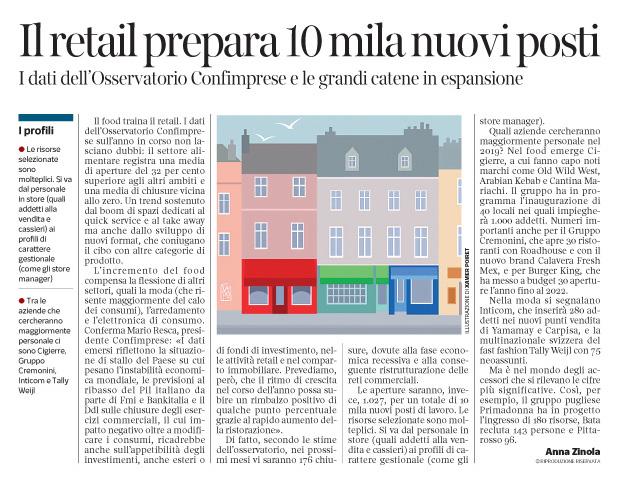 281 - Corriere Economia - catene di negozi, assunzioni - 05.02.19 - pp. 27